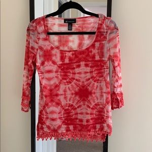INC Pink and White Tie Dye Sheer Top